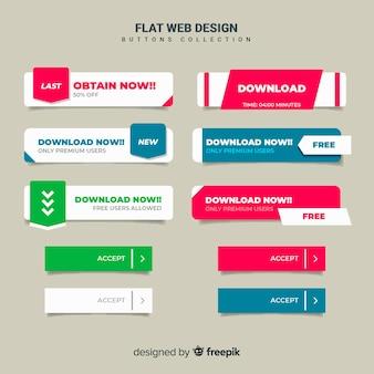 Raccolta pulsante web piatto