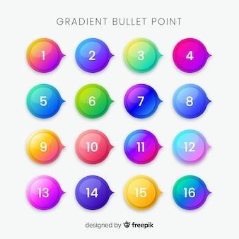 Raccolta punti elenco gradiente