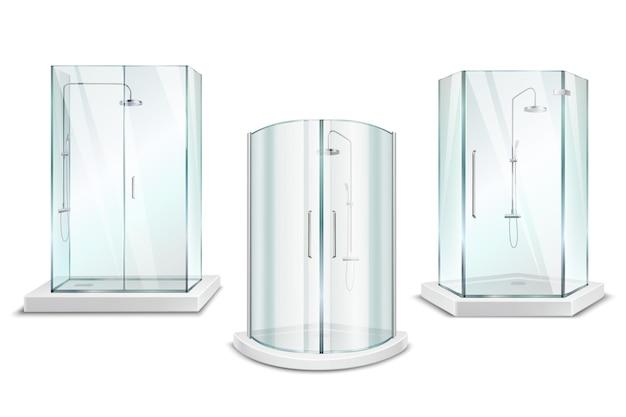 Raccolta realistica 3d della cabina della doccia con le unità di doccia lucide isolate con le porte sullo spazio in bianco