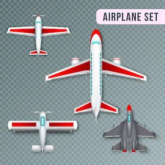 Raccolta realistica di immagini di vista superiore dell'elica del passeggero dell'aeroplano e degli aerei a reazione e degli aerei militari trasparente