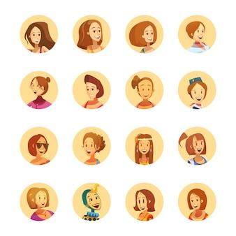 Raccolta rotonda delle icone dell'avatar di stile sorridente del fumetto della donna giovane