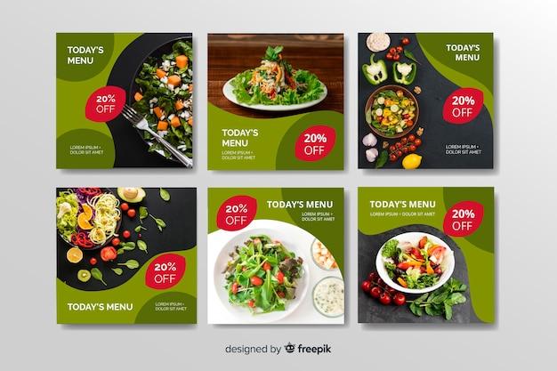 Raccolta sana della posta del instagram dell'alimento con la foto