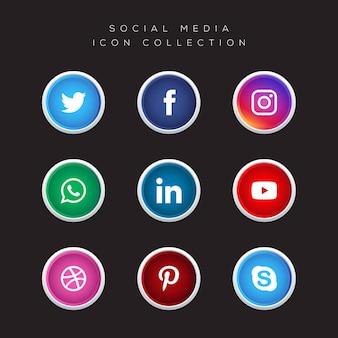 Raccolta sociale di vettore delle icone di media