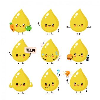 Raccolta sorridente felice sveglia della serie di caratteri di goccia dell'urina. concetto di carattere delle urine