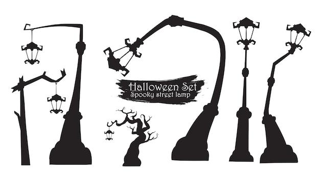 Raccolta spettrale della siluetta della lampada di via di halloween