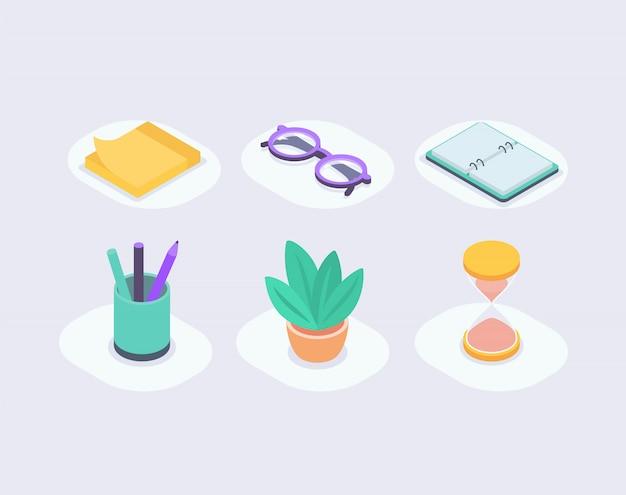 Raccolta stabilita dell'icona di affari con stile isometrico con le icone della pianta e di tempo della matita del taccuino di vetro delle note
