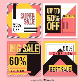 Raccolta variopinta astratta della posta del instagram di vendita