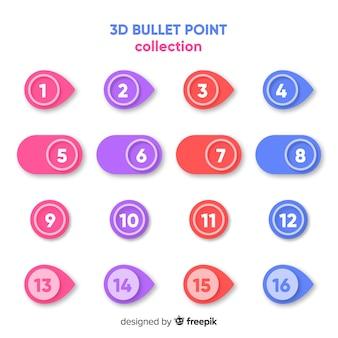 Raccolta variopinta del punto di proiettile 3d