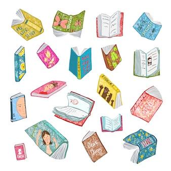 Raccolta variopinta della biblioteca del disegno dei libri aperti. grande insieme dell'illustrazione brillantemente colorata disegnata a mano delle copertine della letteratura.
