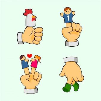 Raccolte di illustrazioni e clip art bambola dita