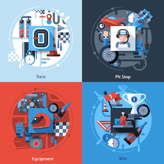 Racing icons set