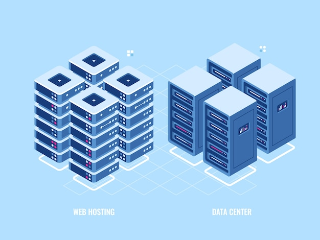 Rack di server di hosting web, icona isometrica di database e data center, tecnologia digitale blockchain