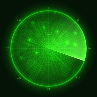 Radar verde. sonar sottomarino della marina con obiettivi. illustrazione della schermata di navigazione
