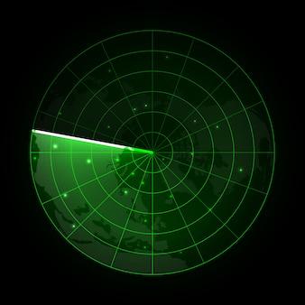 Radar vettoriale realistico nella ricerca. schermo radar con gli obiettivi