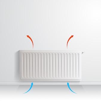 Radiatore di riscaldamento sul muro bianco con freccia che mostra la circolazione dell'aria, vista frontale.