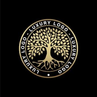 Radice o albero, simbolo dell'albero della vita a forma di cerchio. bella illustrazione della radice isolata con colore oro