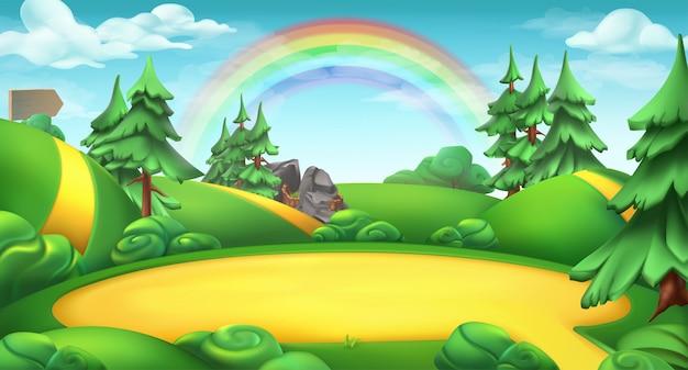 Radura in una foresta. sfondo paesaggio natura 3d