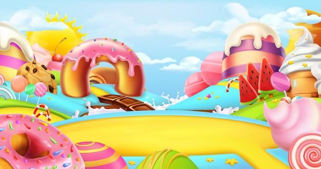 Radura in una terra di caramelle. dolce paesaggio, panorama 3d