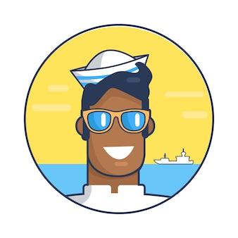 Raffigurante marinaio contro l'illustrazione del mare