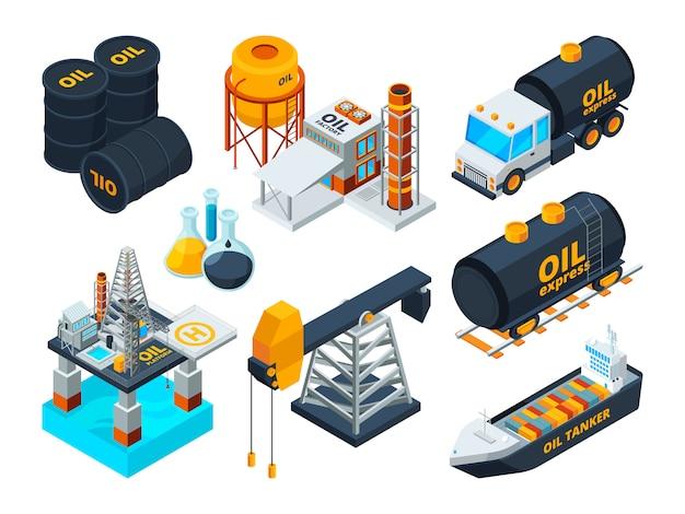 Raffinazione del petrolio e del gas. set di immagini isometriche