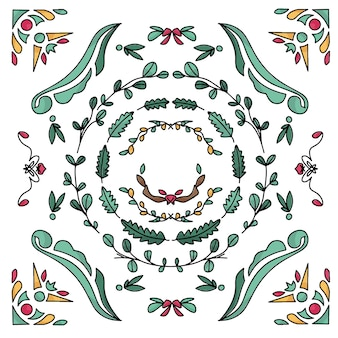 Raffreddare disegnato a mano natura e riccioli bordo e design del telaio