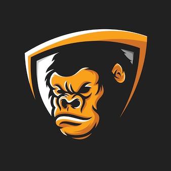 Raffreddare gorilla testa logo vettoriale