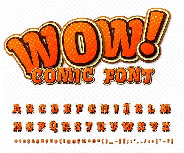 Raffreddare il carattere del fumetto, l'alfabeto del bambino in stile del libro di fumetti, pop art. numeri e lettere arancioni divertenti multistrato