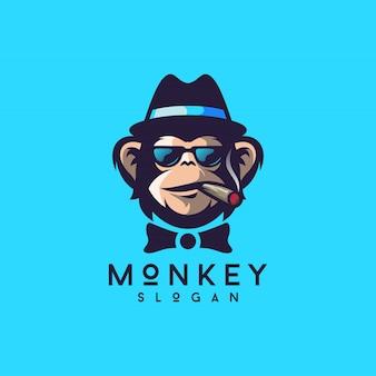 Raffreddi l'illustratore di vettore di progettazione di logo della scimmia
