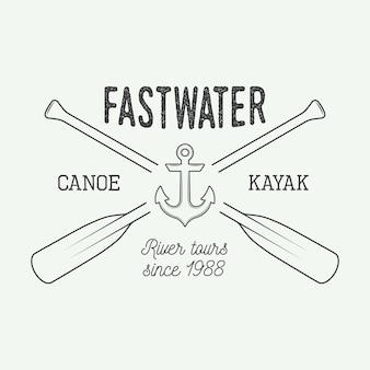 Rafting logo, etichetta o distintivo.