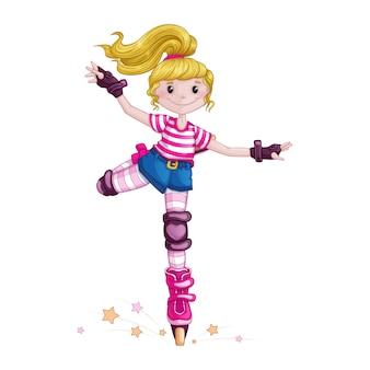 Ragazza adolescente pattinaggio a rotelle e fare trucchi sportivi. i bambini nello sport pattini su pattini a rotelle. personaggio dei cartoni animati