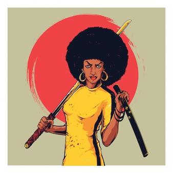 Ragazza afro samurai