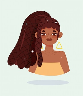 Ragazza afroamericana con capelli rasta trecce personaggio dei fumetti illustrazione vettoriale