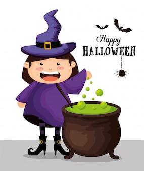 Ragazza agghindata come strega su halloween