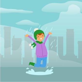Ragazza allegra e divertente in pioggia, bambino che salta nella pozza, fondo puerile sveglio, illustrazione del fumetto.