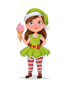 Ragazza allegra in costume dell'elfo