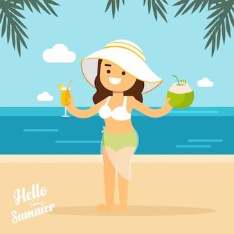 Ragazza andare a viaggiare ragazza in spiaggia estiva in vacanza vacanze con cocktail