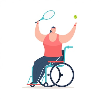 Ragazza andicappata in una sedia a rotelle che gioca a tennis. illustrazione di concetto del fumetto di vettore di sport di inabilità isolata