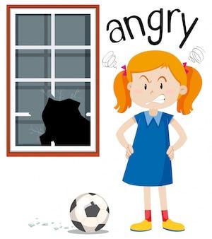 Ragazza arrabbiata con finestra rotta