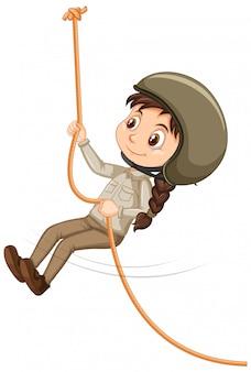 Ragazza arrampicata corda