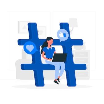 Ragazza blu con stile piatto hashtag