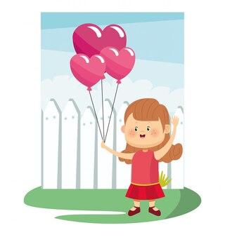 Ragazza carina cartone animato con palloncini rosa su recinzione e cielo
