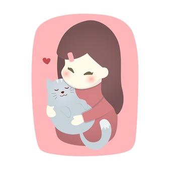 Ragazza carina che abbraccia il gatto con amore