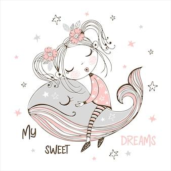 Ragazza carina che dorme dolcemente su una balena magica. sogni d'oro.