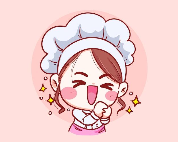 Ragazza carina chef divertimento sorridente grazie illustrazione di arte del fumetto