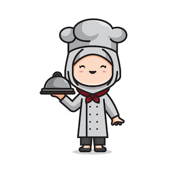 Ragazza carina chef musulmano
