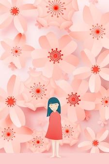 Ragazza carina con bella arte di carta floreale e colori pastello vector illustation