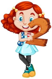 Ragazza carina con i capelli rossi che tiene la matematica numero due