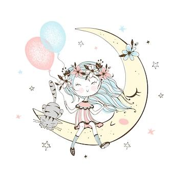 Ragazza carina con palloncini e un gatto seduto sulla luna.