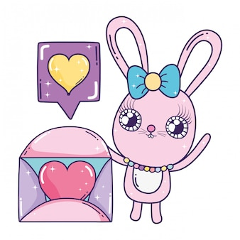 Ragazza carina coniglio con busta san valentino