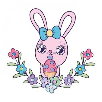 Ragazza carina coniglio con dolce cupcake san valentino